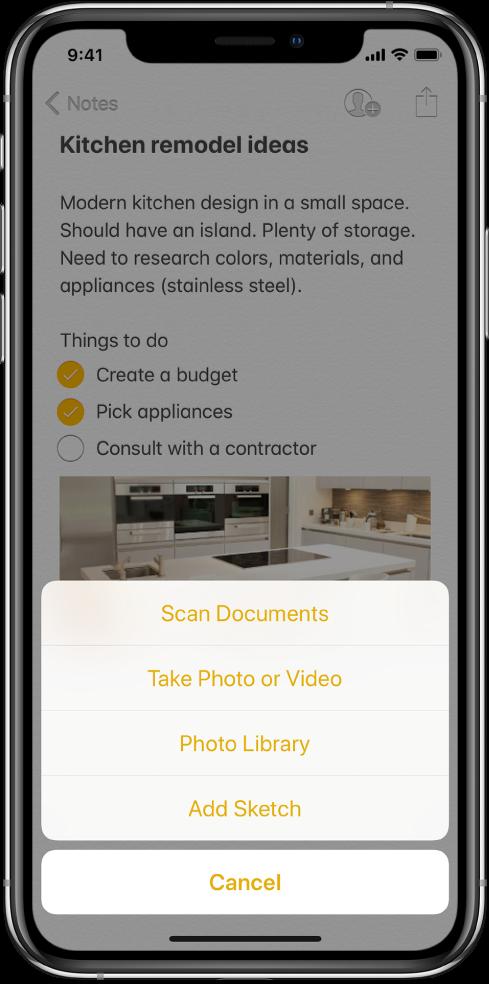 """Pastaba ir meniu """"Insert"""", kuriame rodomos parinktys """"Scan Documents"""", """"Take Photo or Video"""", """"Photo Library"""" arba """"Add Sketch""""."""