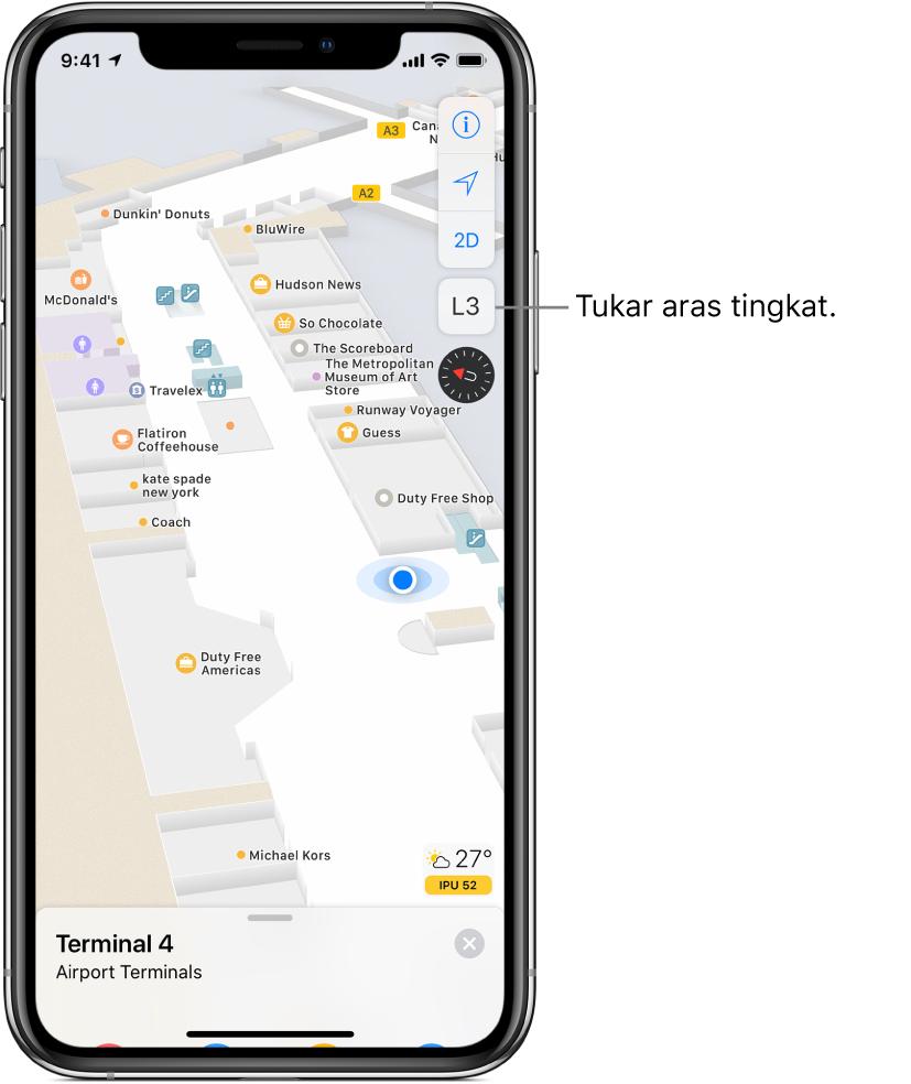 Peta dalaman terminal lapangan terbang. Peta menunjukkan beberapa lokasi, termasuk pintu naik penerbangan, bilik air dan titik semak keselamatan. Di bahagian bawah skrin, kad menyenaraikan pintu di terminal A.