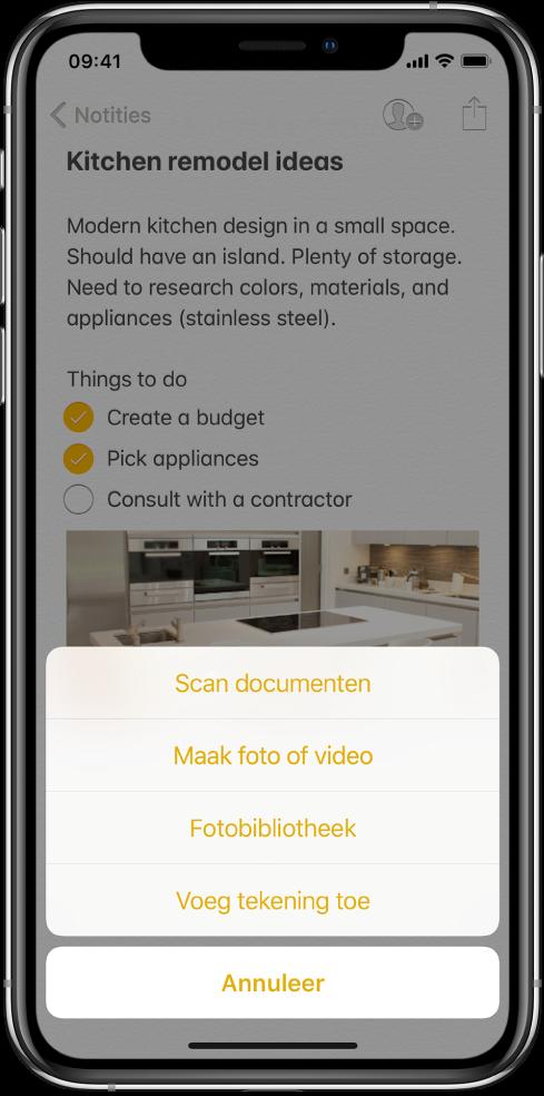 Een notitie met het invoegmenu, met daarin keuzes voor 'Scan documenten', 'Maak foto of video', 'Fotobibliotheek' en 'Voeg tekening toe'.