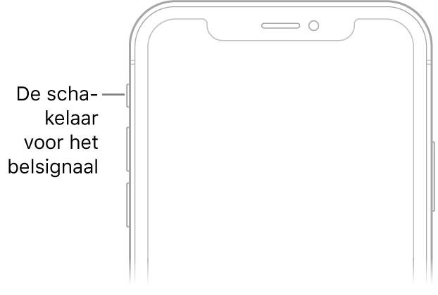 Het bovenste gedeelte van de voorkant van de iPhone met een bijschrift voor de aan/uit-schakelaar voor het belsignaal.