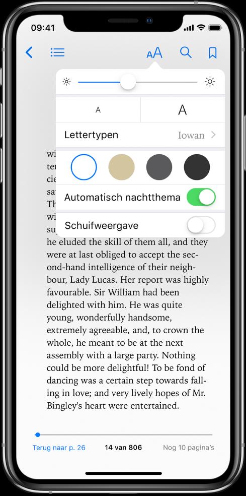 Het weergavemenu met, van boven naar beneden, knoppen voor helderheid, lettergrootte, lettertype, paginakleur, automatisch nachtthema en schuifweergave.
