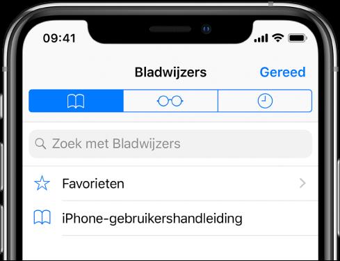 Het bladwijzerscherm met behalve de bladwijzers ook opties voor het weergeven van favorieten en het bekijken van de browsergeschiedenis.