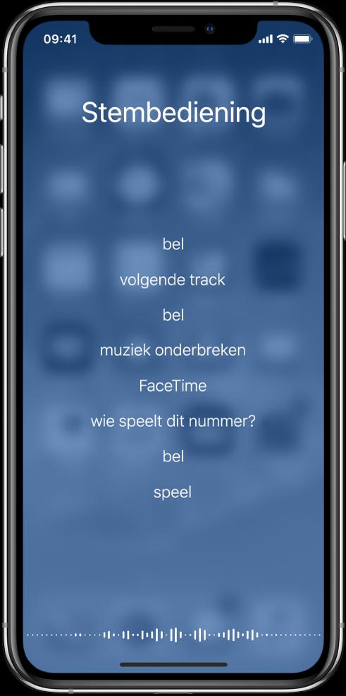Het scherm van stembediening met voorbeelden van commando's die je kunt gebruiken. Onder in het scherm verschijnt een golfvorm.