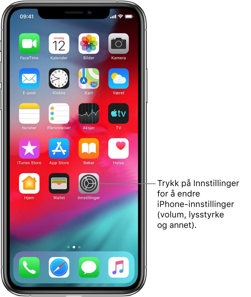 Hjem-skjermen med flere symboler, inkludert Innstillinger-symbolet, som du kan trykke på for å endre lydvolumet, lysstyrken på skjermen og annet på iPhone.