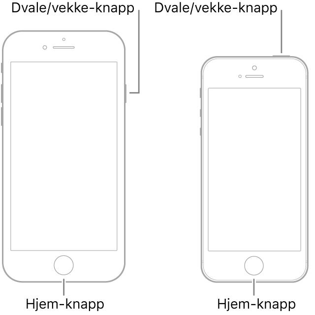Illustrasjoner av to iPhone-modeller med skjermene vendt mot deg. Begge har Hjem-knapper nederst på enhetene. Modellen til venstre har en Dvale/vekke-knapp nesten øverst på høyre side av enheten, mens modellen til høyre har en Dvale/vekke-knapp til høyre på toppen av enheten.