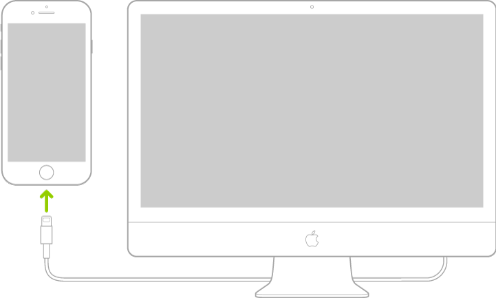 iPhone koblet til en Mac-datamaskin med Lightning-til-USB-kabelen.