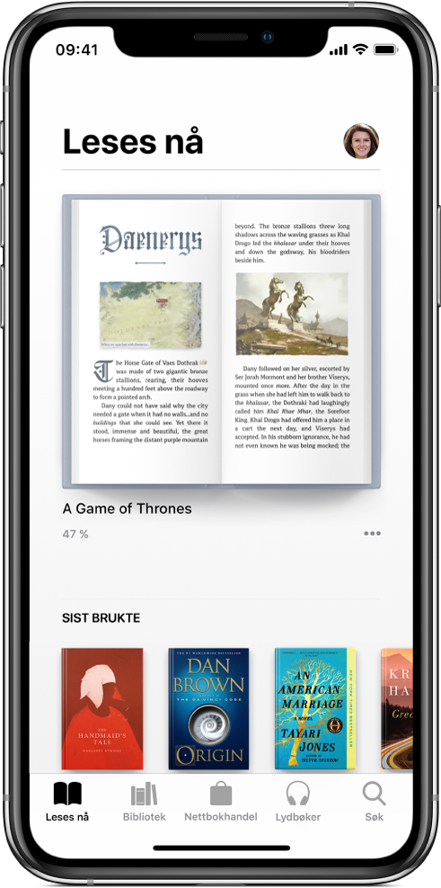 Leser nå-skjermen i Bøker-appen. Nederst på skjermen, fra venstre mot høyre vises fanene Leses nå, Bibliotek, Nettbokhandel, Lydbøker og Søk.