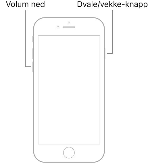 En illustrasjon av iPhone7 med skjermen vendt mot deg. Volum ned-knappen vises på venstre side av enheten og Dvale/vekke-knappen vises på høyre side.