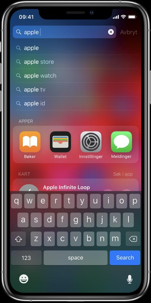 En skjerm som viser søk etter innhold på iPhone. Øverst er søkefeltet med søketeksten «apple», og nedenfor er søkeresultatene for målteksten.