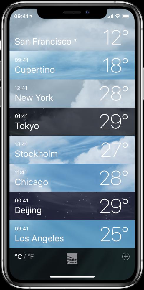 En liste over byer som viser klokkeslett og gjeldende temperatur for hver by.