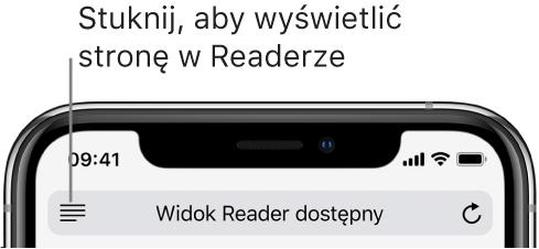 Pole adresu wSafari zprzyciskiem Reader po lewej stronie.