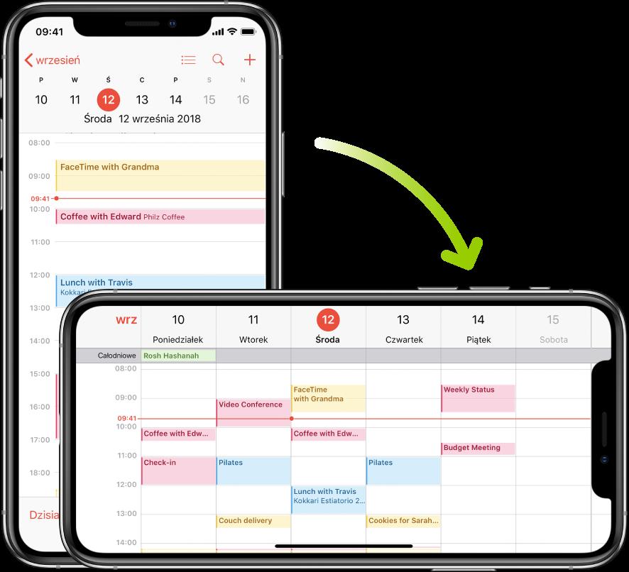 Wtle widoczny jest iPhone worientacji pionowej wyświetlający ekran aplikacji Kalendarz zwydarzeniami zjednego dnia. Na pierwszym planie widoczny jest iPhone worientacji poziomej wyświetlający ekran aplikacji Kalendarz zwydarzeniami zcałego tygodnia obejmującego ten dzień.