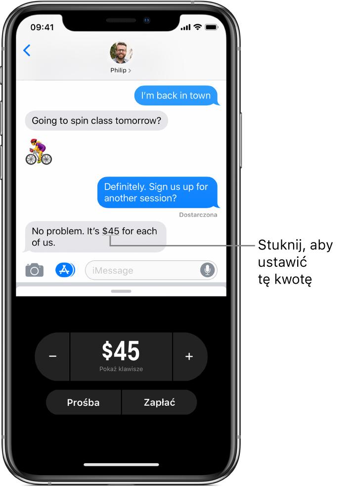 Rozmowa iMessage zaplikacją ApplePay otwartą na dole.