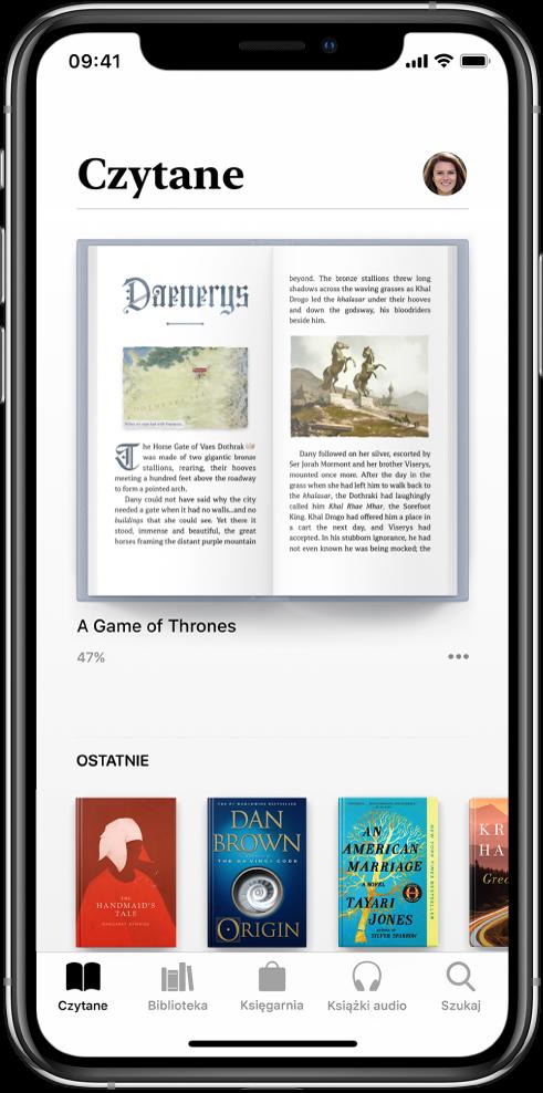 Ekran Czytane waplikacji Książki. Na dole ekranu (od lewej do prawej) znajdują się karty: Czytane, Biblioteka, Księgarnia, Książki audio iSzukaj.