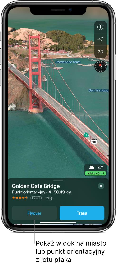 Widok fragmentu mostu Golden Gate. Na dole ekranu znajduje się baner zprzyciskiem wycieczki Flyover (na lewo od przycisku trasy).
