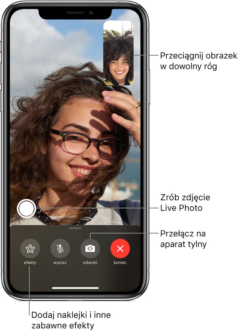 Ekran aplikacji FaceTime wtrakcie połączenia. Obraz zużytkownikiem jest wyświetlany wmałym okienku wprawym górnym rogu; obraz zrozmówcą wypełnia resztę ekranu. Na dole ekranu znajdują się przyciski efektów, wyciszania, zmiany aparatu ikończenia połączenia. Nad nimi znajduje się przycisk robienia zdjęcia LivePhoto.