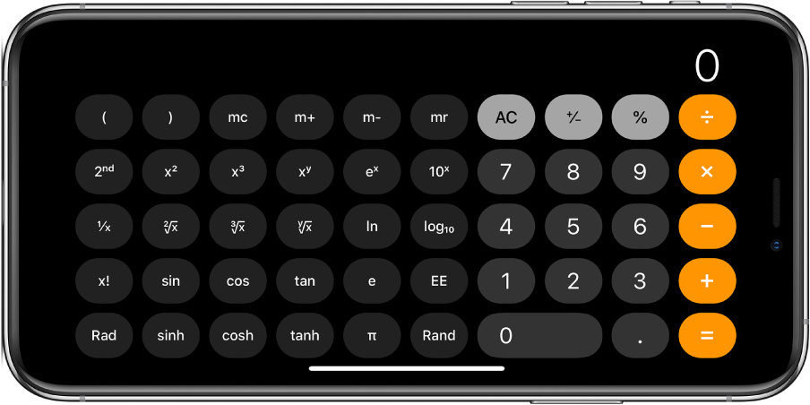 iPhone worientacji poziomej pokazujący kalkulator naukowy służący do wykonywania obliczeń wykładniczych, logarytmicznych itrygonometrycznych.