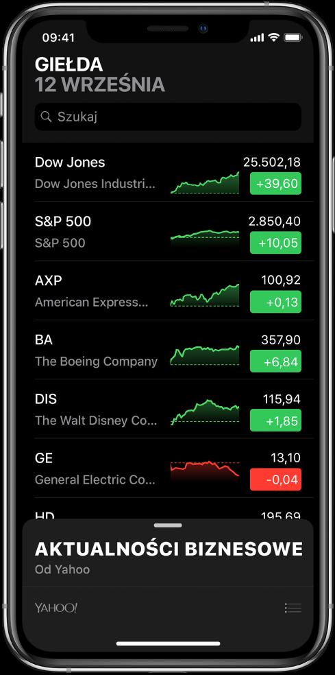 Lista obserwowanych notowań. Dla każdego notowania wyświetlane są następujące informacje (od lewej do prawej): symbol inazwa akcji, wykres, kurs izmiana kursu. Na górze ekranu, nad listą notowań, znajduje się pole wyszukiwania. Pod listą notowań znajduje się sekcja aktualności biznesowych. Przesuń po niej palcem wgórę, aby wyświetlić publikacje.