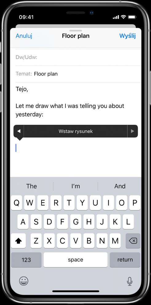 Ekran pokazujący sposób wstawiania rysunku wtreści wiadomości. Przycisk Wstaw rysunek, który pozwala otworzyć narzędzia rysowania, jest widoczny wtreści wiadomości email.