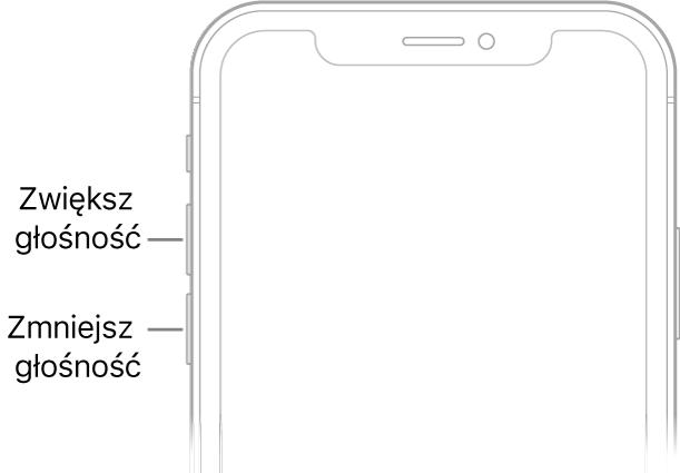 Górna część przodu iPhone'a; wlewym górnym rogu znajdują się przyciski zmiany głośności.