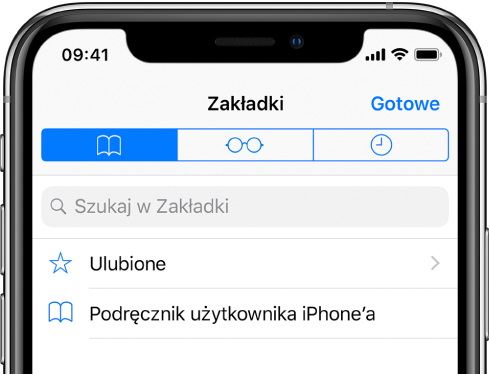 Ekran zakładek, zawierający opcje wyświetlania zakładek, ulubionych ihistorii przeglądania.