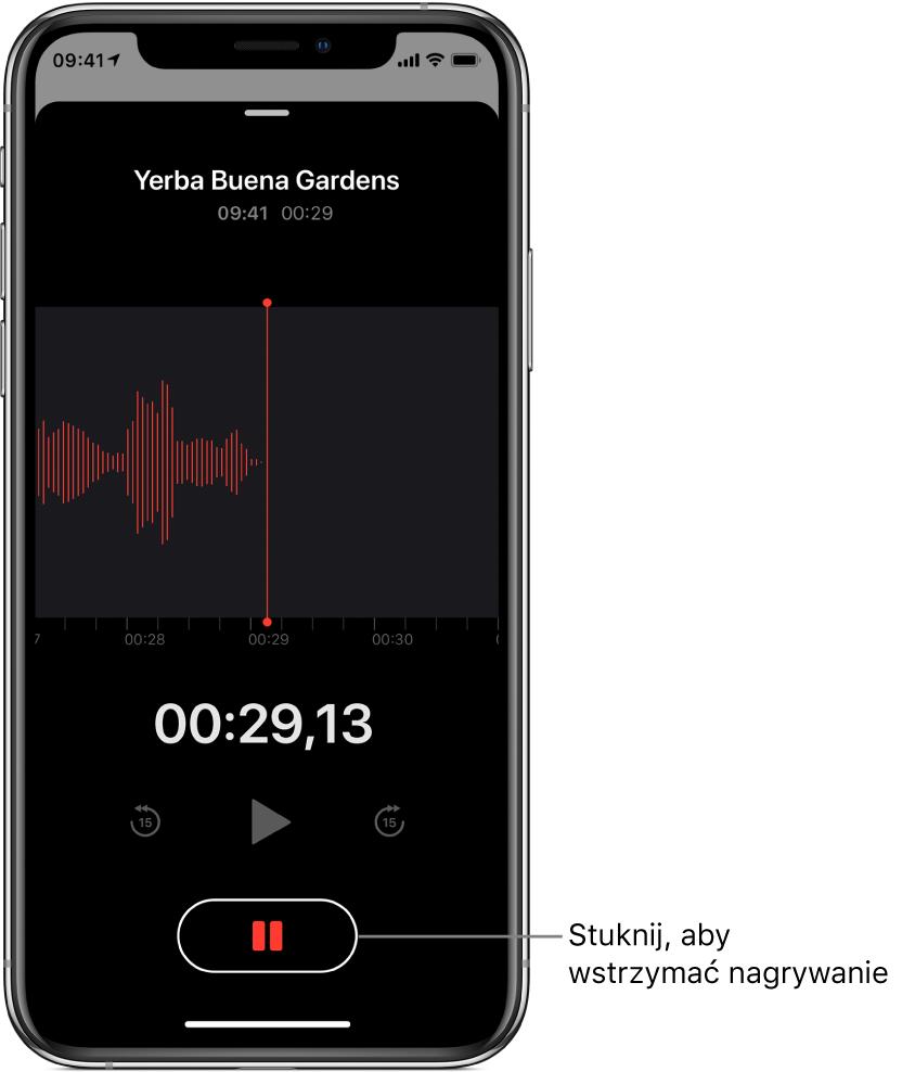 Ekran nagrywania waplikacji Dyktafon; przycisk wstrzymywania jest aktywny, anarzędzia odtwarzania oraz przechodzenia do przodu ido tyłu o15sekund są wygaszone. Główna część ekranu zawiera kształt fali tworzonego nagrania oraz wskaźnik czasu.