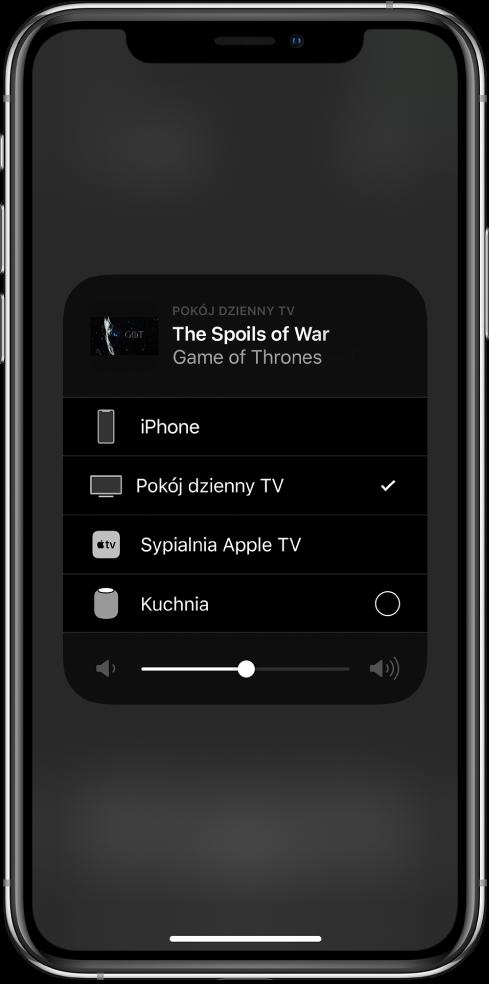 Otwarte okno AirPlay ztytułem odcinka programu TV. Poniżej wyświetlana jest lista urządzeń AirPlay. Wybrany jest telewizor wsalonie. Na dole ekranu znajduje się suwak głośności.