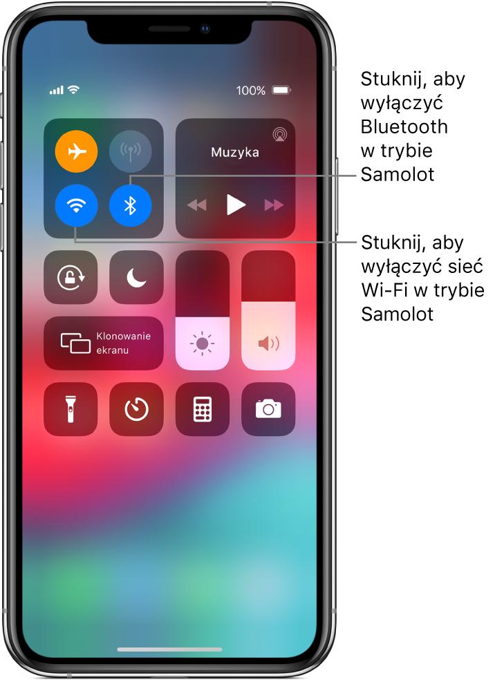 Centrum sterowania; tryb Samolot jest włączony; stuknięcie wlewy dolny przycisk wgrupie wyświetlanej na górze po lewej wyłącza Wi‑Fi, astuknięcie wprawy dolnyprzycisk wtej samej grupie wyłącza Bluetooth.