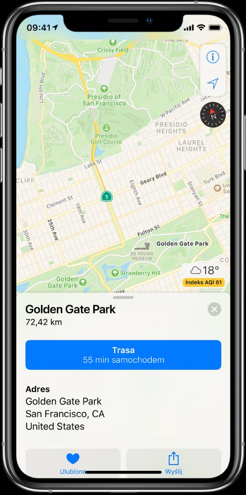 Mapa transportu publicznego wSan Francisco. Przycisk pozwalające wybrać widok oraz wskazać Twoje bieżące położenie znajdują się wprawym górnym rogu. Karta na dole ekranu zawiera informacje na temat parku Golden Gate Park, wtym przyciski wycieczki Flyover oraz trasy, atakże trzy zdjęcia zparku.