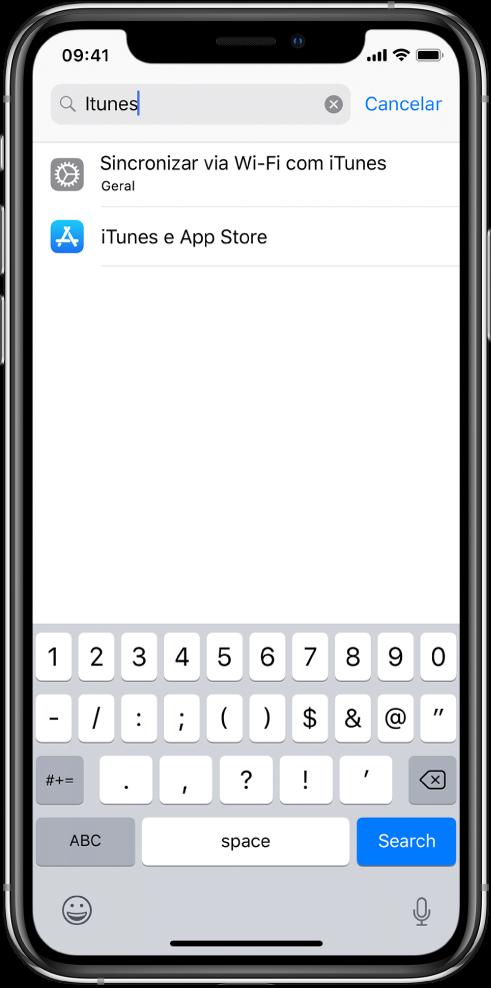 """Tela para buscar ajustes, com o campo de busca na parte superior da tela. O termo """"iTunes"""" encontra-se no campo de busca e dois ajustes encontrados aparecem na lista abaixo."""