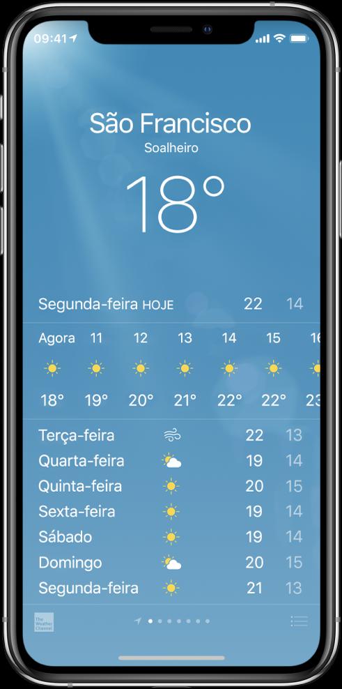 Ecrã da aplicação Meteorologia com a cidade, as condições atuais e a temperatura atual. Por baixo encontra-se a previsão de hora em hora atual, seguida da previsão para os próximos 5 dias. Uma linha de pontos na parte inferior, ao centro, mostra o número de cidades definidas.