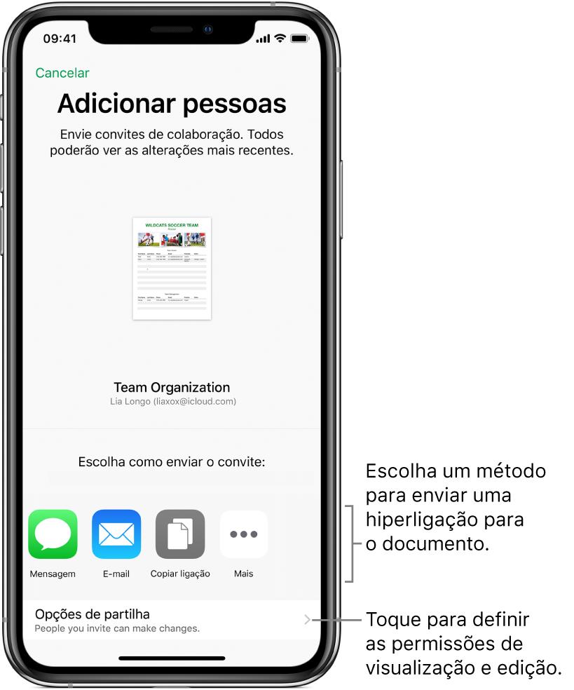 Um ecrã para convidar pessoas para consultarem e editarem o ficheiro. Os métodos de envio do convite incluem Mensagem e Mail. As opções de partilha aparecem imediatamente abaixo.