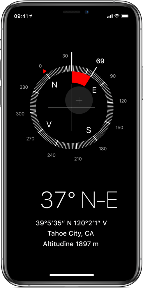 Ecranul Busolă indicând direcția în care este îndreptat iPhone-ul, localizarea și altitudinea dvs. curente.