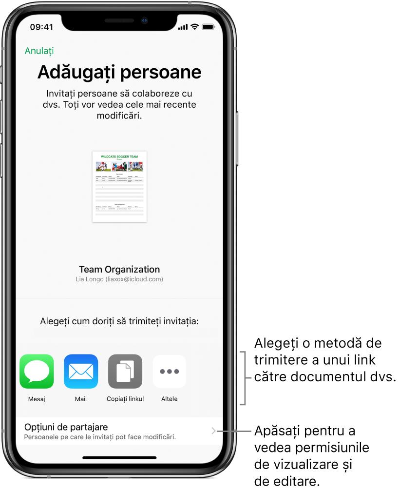 Ecran pentru invitarea persoanelor la vizualizarea și editarea fișierului. Printre modalitățile de trimitere a invitației se numără Mesaj și Mail. Opțiunile de partajare apare sub acestea.
