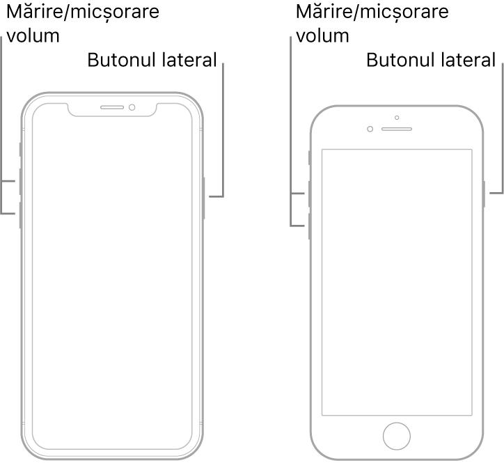 Ilustrații cu două modele de iPhone cu ecranele îndreptate în sus. Modelul din stânga nu are un buton principal, în vreme ce modelul de dreapta are un buton principal aproape de partea de jos a dispozitivului. Ambele modele au butoanele de creștere și de micșorare a volumului pe partea stângă și un buton lateral pe partea dreaptă.