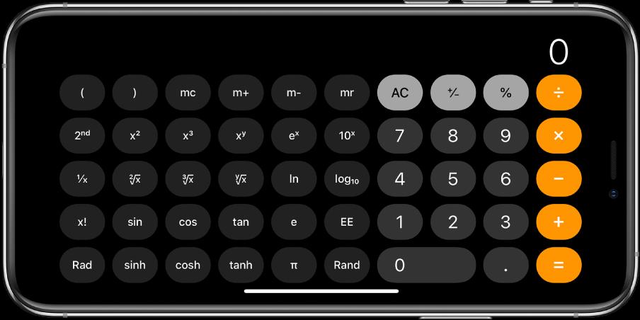 iPhone în orientare peisaj afișând calculatorul științific cu funcții exponențiale, logaritmice și trigonometrice.