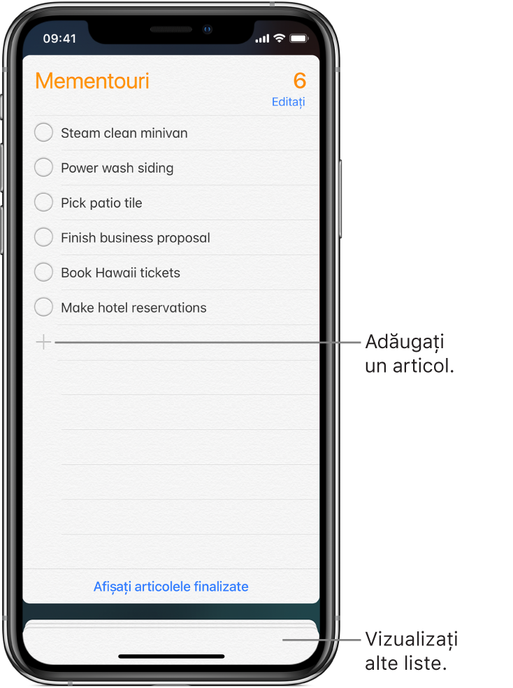 Un ecran Mementouri prezentând o listă de mementouri. Butonul Adăugați apare în partea stângă jos a listei.