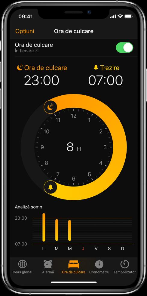 Butonul Ora de culcare este selectat în aplicația Ceas, prezentând ora de culcare începând de la 11:00 p.m. și ora de trezire fixată la 7:00 a.m.