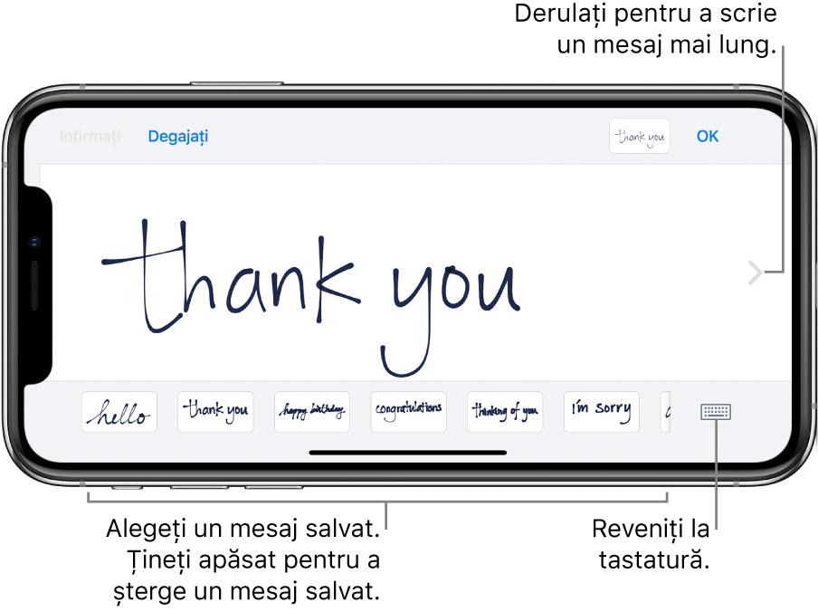 Ecranul pentru scrierea de mână cu un mesaj scris de mână. De-a lungul părții de jos, de la stânga la dreapta, sunt mesajele salvate și butonul Afișați tastatură.