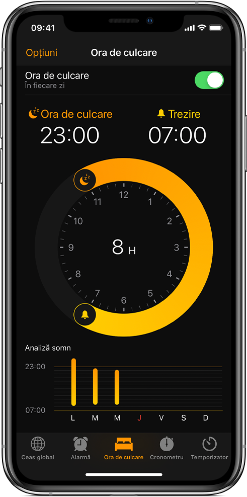 Fila Ora de culcare, prezentând ora de culcare fixată la 11 p.m. și ora de trezire fixată la 7 a.m.