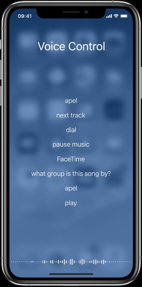 Ecranul Comenzi vocale, prezentând exemple ale comenzilor pe care le puteți utiliza. O formă de undă apare de-a lungul părții de jos a ecranului.