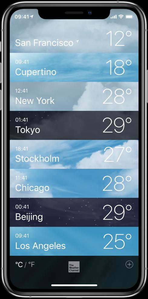 O listă de orașe prezentând ora și temperatura curentă pentru fiecare.