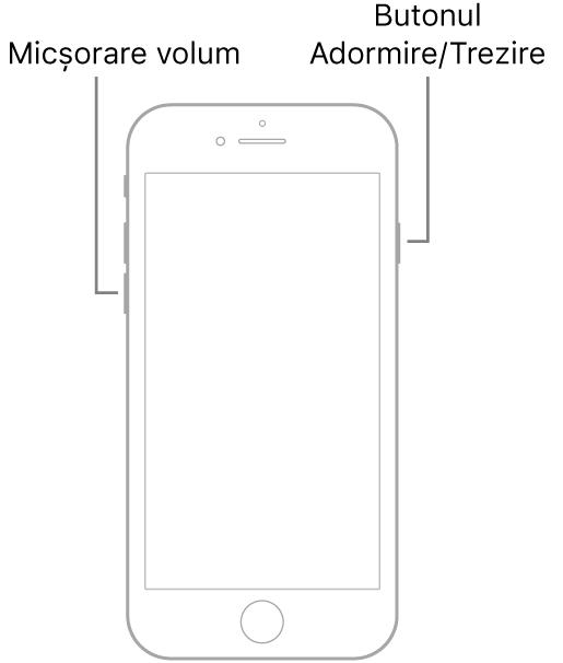 Ilustrația unui iPhone 7 cu ecranul îndreptat în sus. Butonul de micșorare a volumului se află pe partea stângă, iar butonul Adormire/Trezire se află pe dreapta.