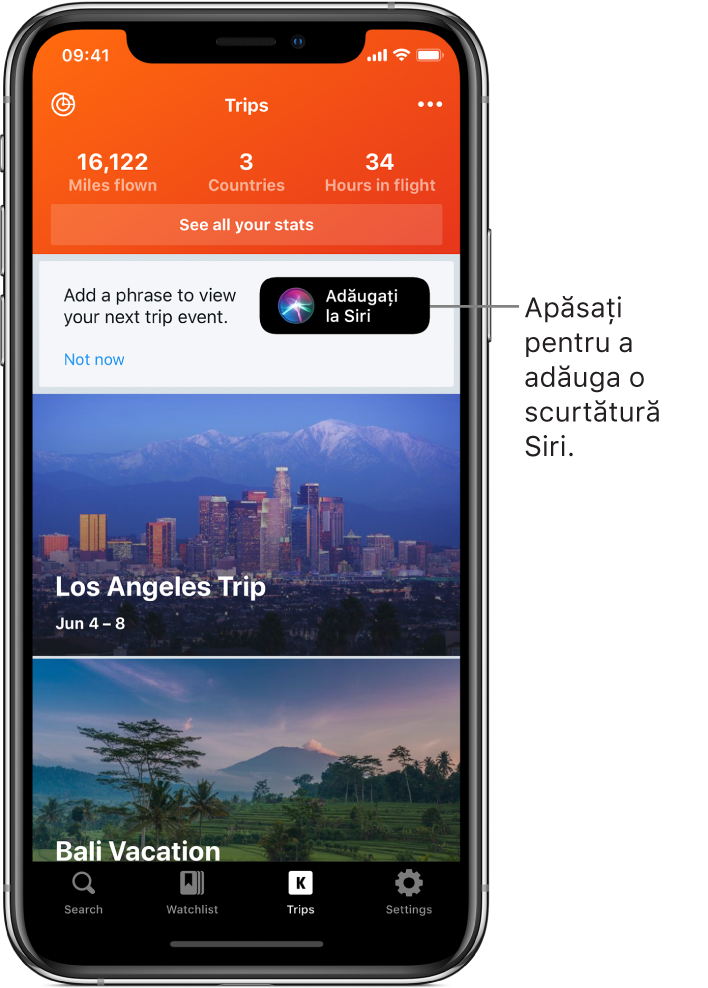 Ecranul unei aplicații listează călătoriile următoare. Butonul Adăugați la Siri apare în dreapta, aproape de partea de sus a ecranului.