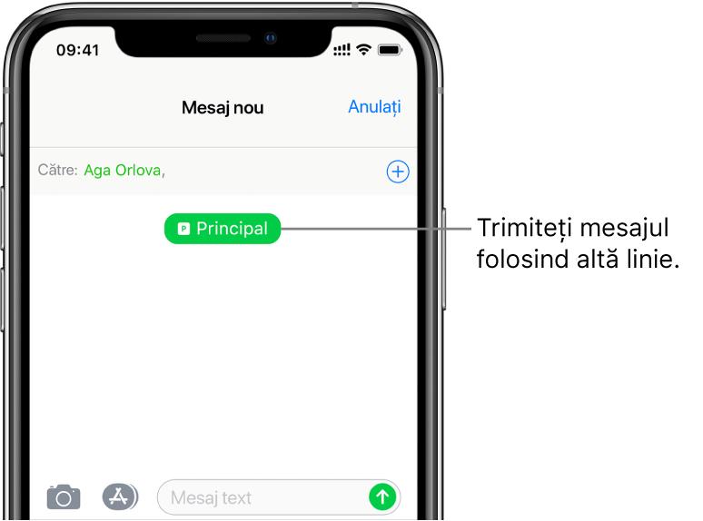Ecran Mesaje pentru o conversație SMS/MMS nouă. Pentru a trimite mesajul cu cealaltă linie, apăsați butonul corespunzător liniei de sub destinatar.