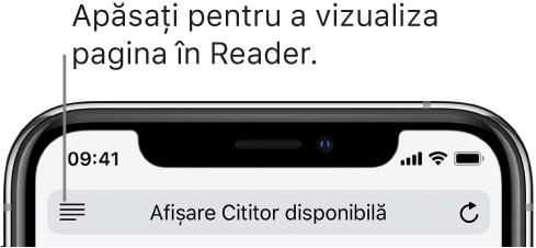 Câmpul de adresă din Safari, cu butonul Cititor în stânga.