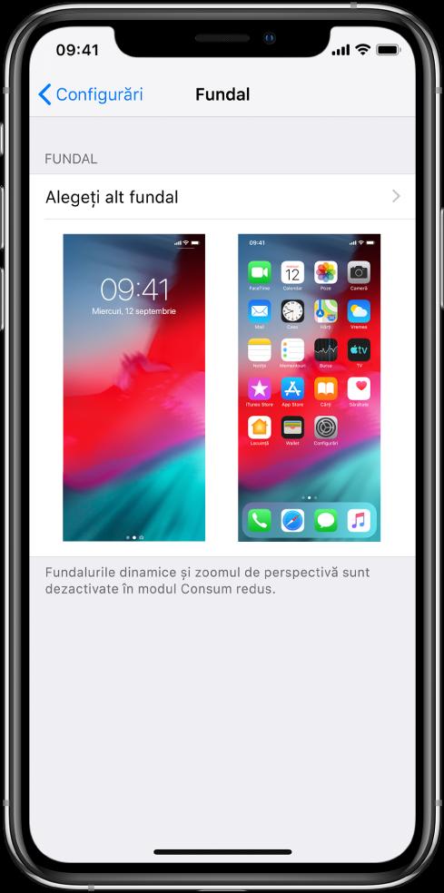 Ecranul de configurare a fundalului, cu butonul pentru alegerea unui fundal nou în partea de sus și imagini ale ecranului de blocare și ecranului principal cu fundalul curent.