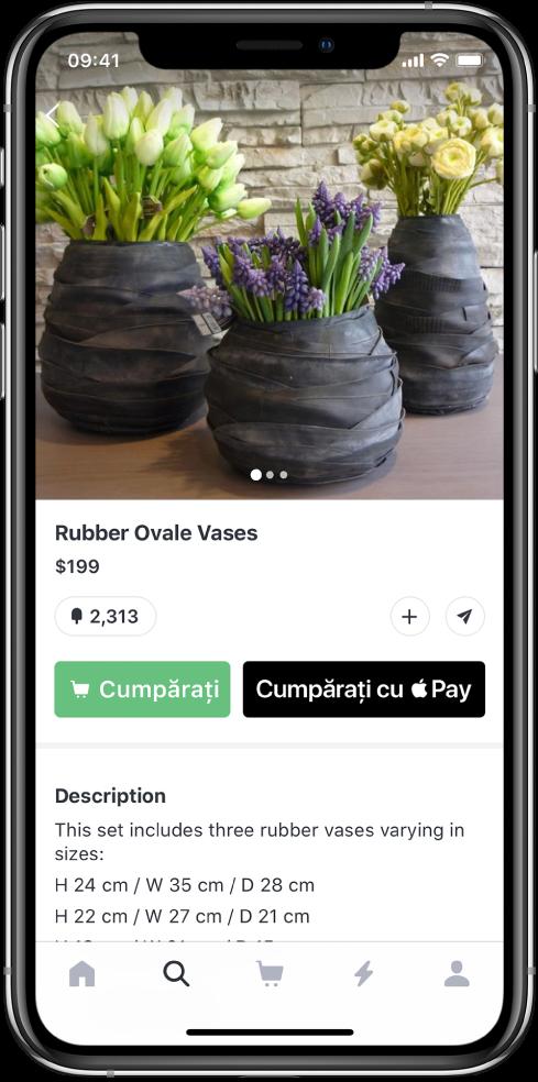 Aplicație afișând un ecran de plată cu butonul Cumpărați cu ApplePay.