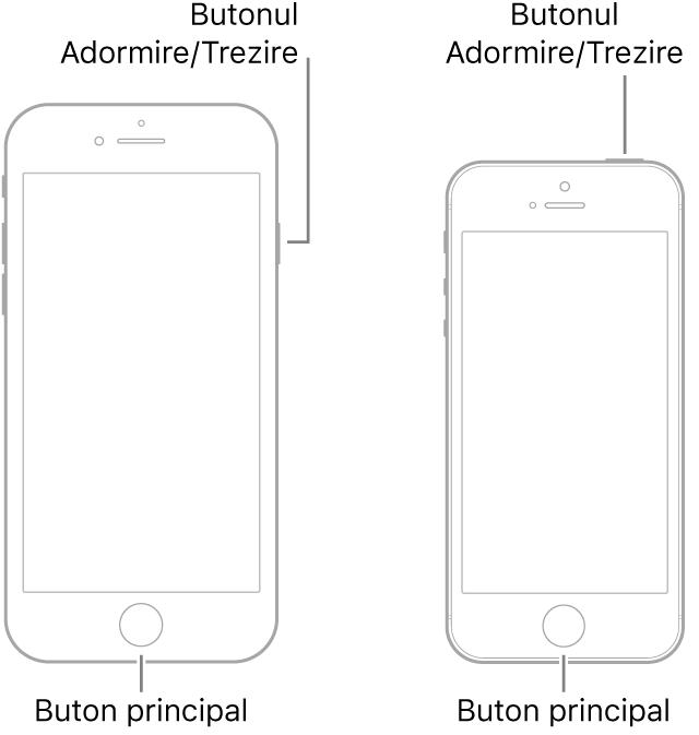 Ilustrații cu două modele de iPhone cu ecranele îndreptate în sus. Ambele modele au butoane principale în apropierea părții de jos a dispozitivelor. Modelul din stânga are butonul Adormire/Trezire pe marginea din dreapta a dispozitivului, aproape de partea de sus, în timp ce modelul din dreapta are butonul Adormire/Trezire pe partea de sus a dispozitivului, aproape de marginea din dreapta.