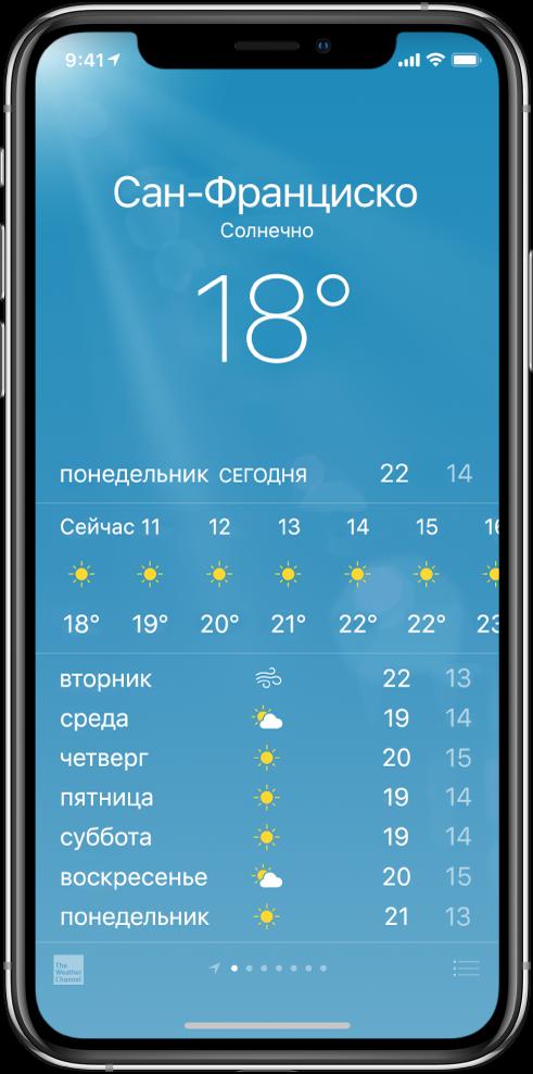 Экран программы «Погода», на котором показан город, текущие погодные условия и температура. Ниже расположен почасовой прогноз, следом— прогноз на 5дней. Количество точек в центре нижней части экрана обозначает количество городов.
